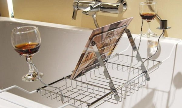 Polished iron wire bathtub tray