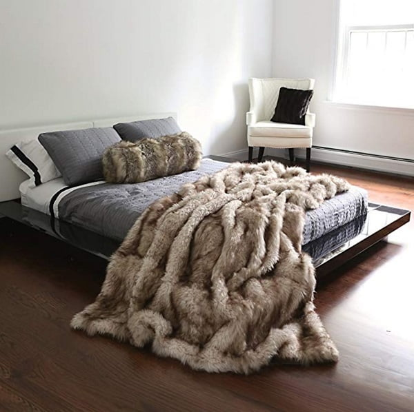 Realistic faux fur blanket