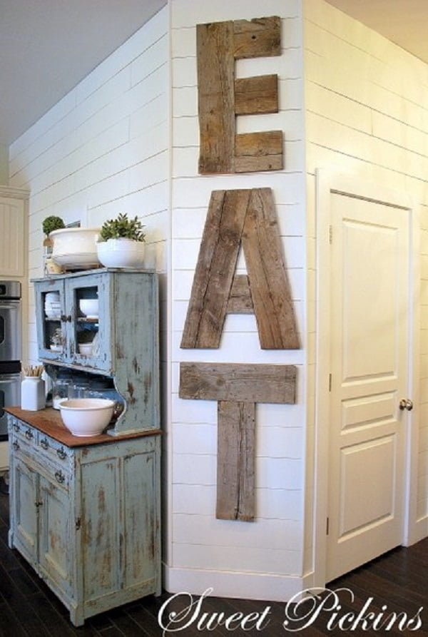Reclaimed wood letter  kitchen wall art