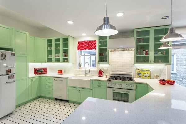 Retro green kitchen cabinets