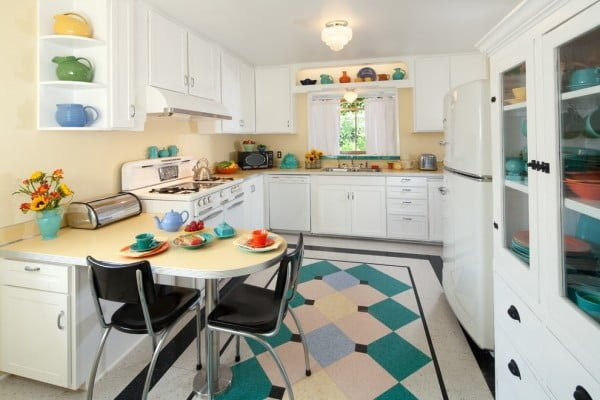 Sunny Yellow Retro Kitchen #kitchendesign