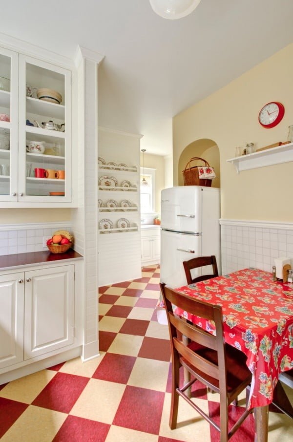Red Checker Tile Retro Kitchen Floor #kitchendesign