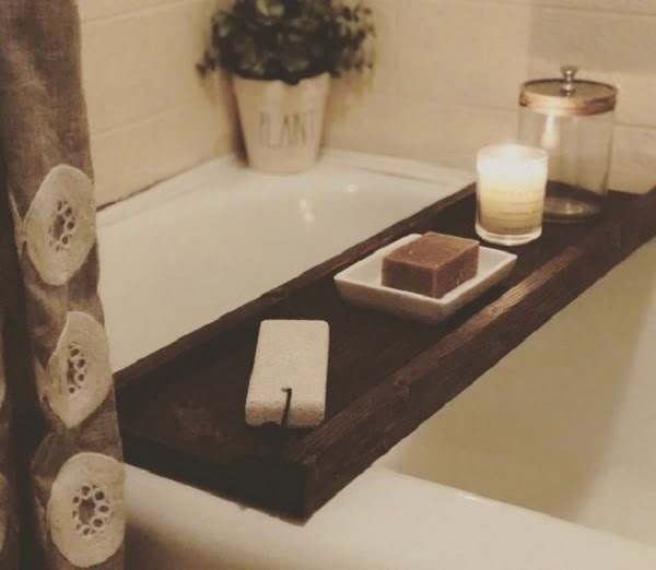 Rustic decor bathtub tray