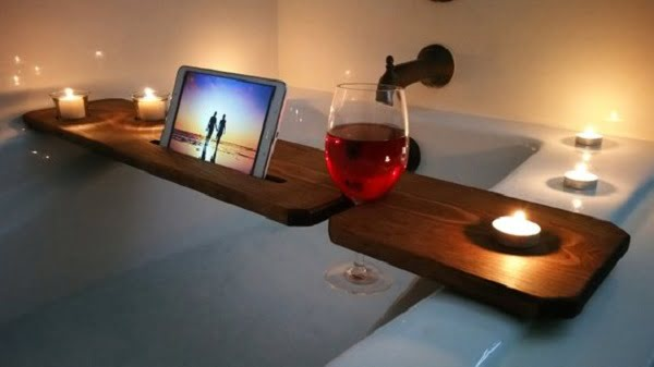 Rustic stained wood bathtub tray