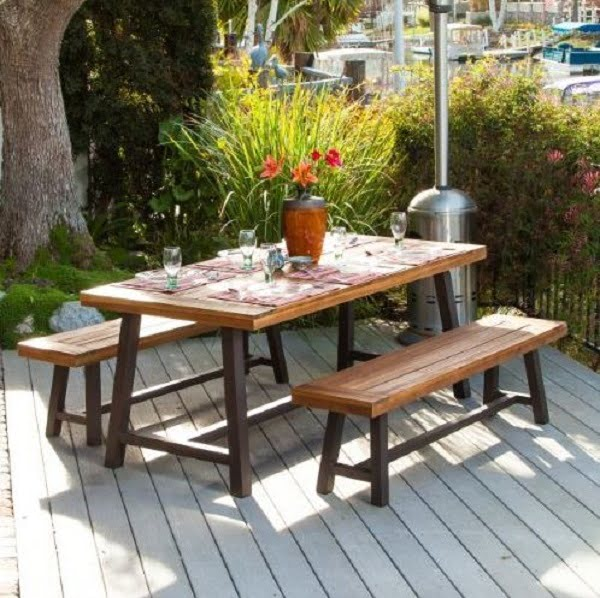 Rustic wooden picnic table with benches