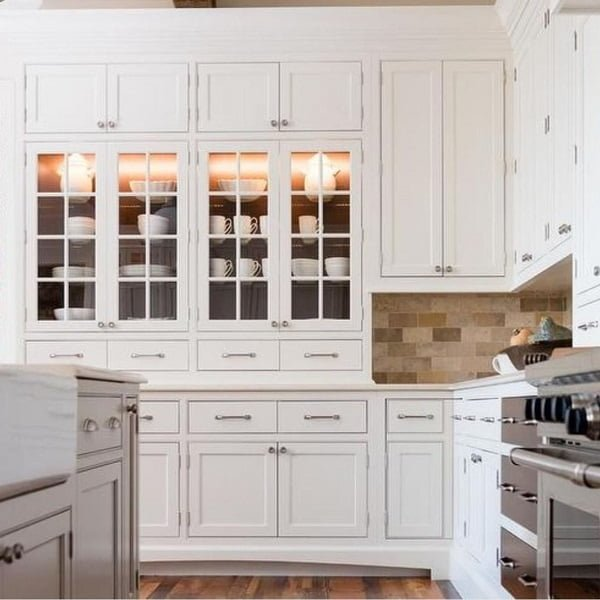 White shaker cabinets with nickel pulls #homedecor