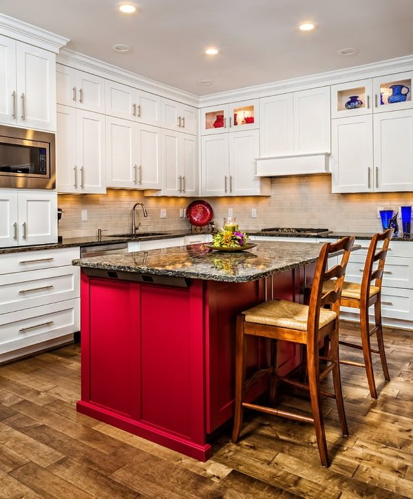 White shaker cabinets with a red kitchen island #homedecor
