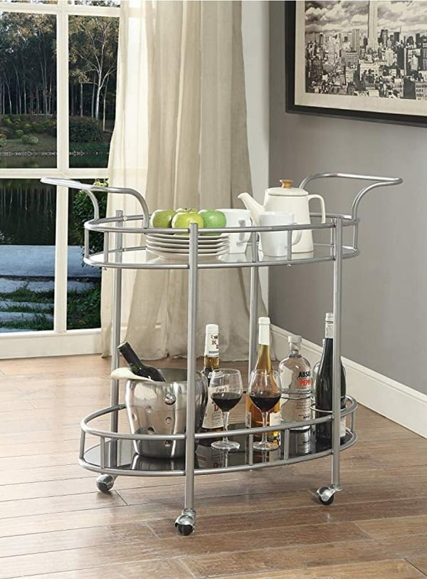 Silver metal tempered glass tea cart