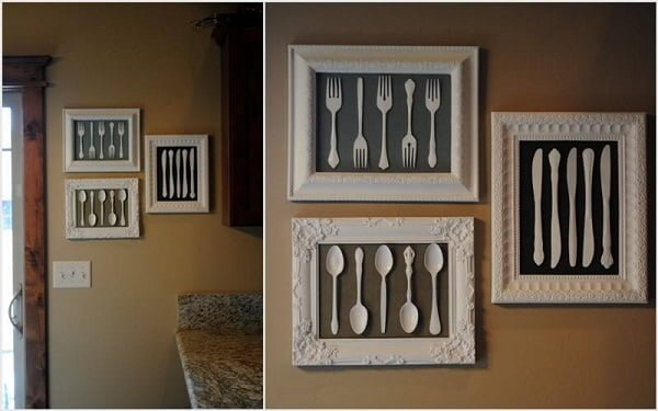 How to make  framed silverware kitchen wall art