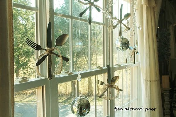 Silverware snowflake  window decoration
