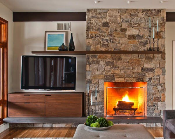 Modern Small Space Stone Fireplace Idea