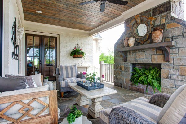Farmhouse Patio Stone Fireplace