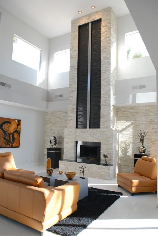 Modern Chimney Stone Fireplace