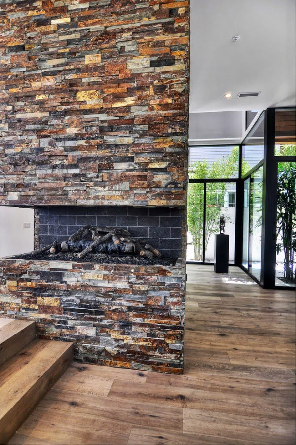 Natural Stone Wall Fireplace