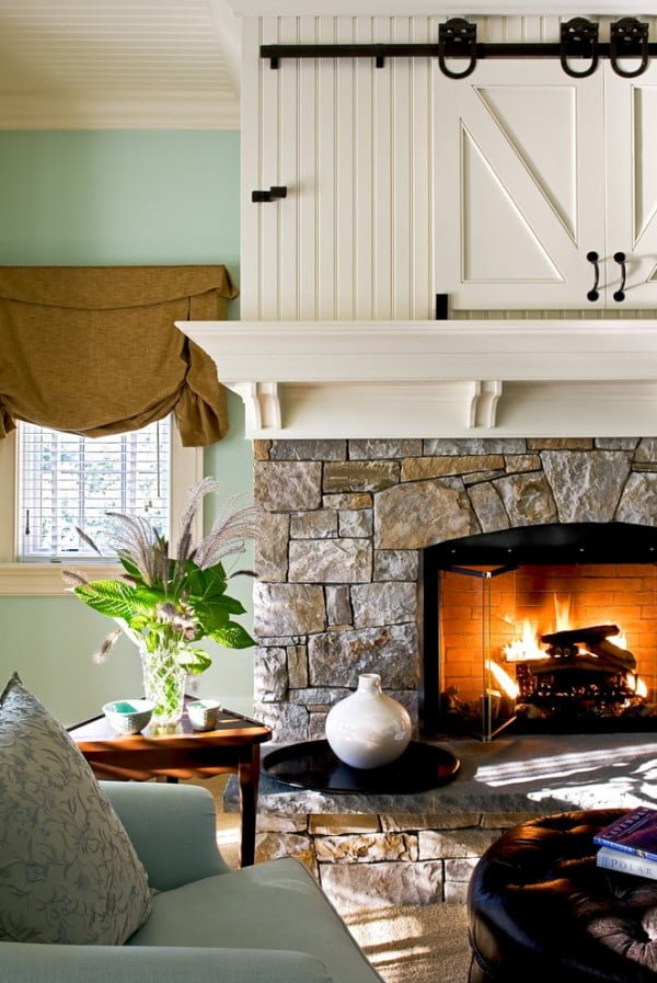 Barn Door Stone Fireplace