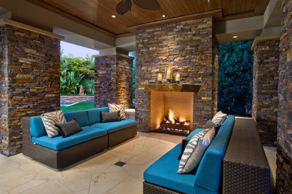 Patio Stone Fireplace