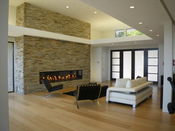 Modern Stone Wall Fireplace