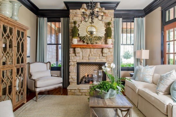 Art Deco Stone Fireplace Decor Idea