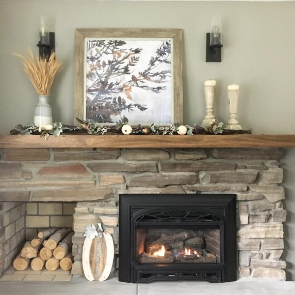 Cozy Rustic Stone Fireplace Idea
