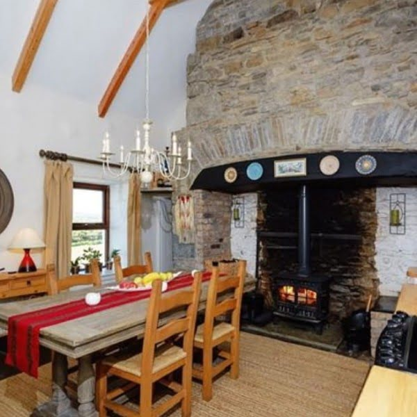 Irish Rustic Cottage Stone Fireplace Idea