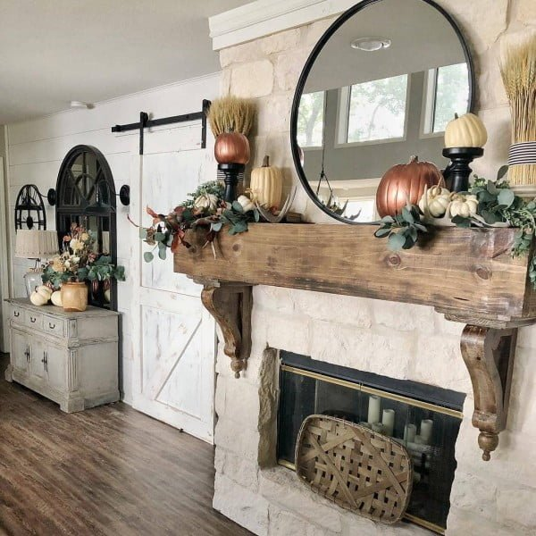 Rustic Cottage Stone Fireplace