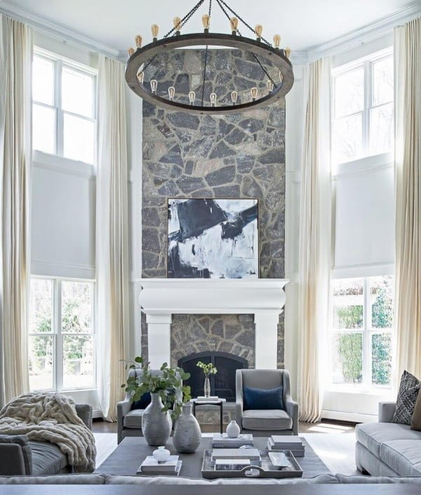 Full Wall Stone Fireplace