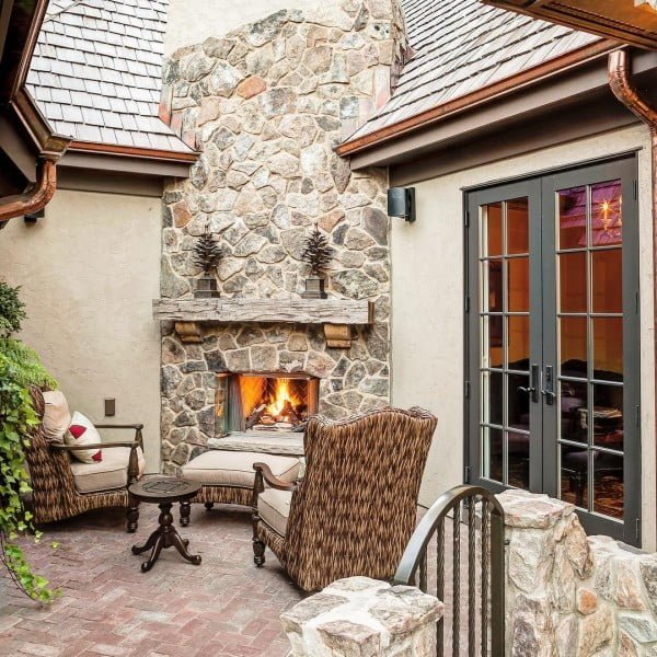 Corner Patio Stone Fireplace