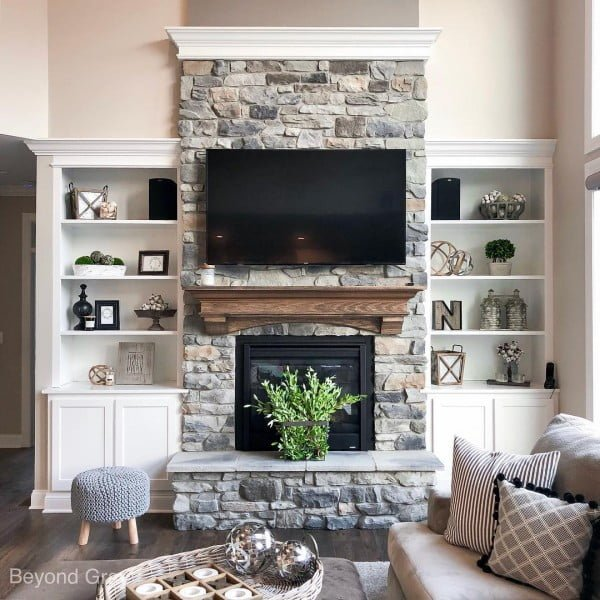 Classic Farmhouse Stone Fireplace