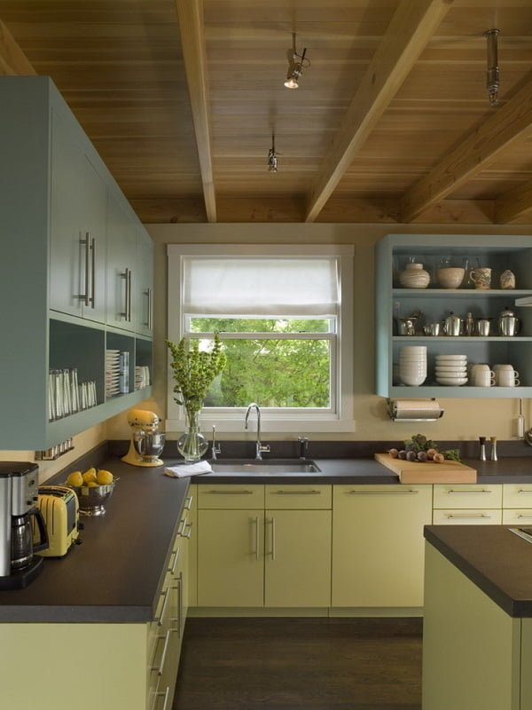 Teal and Harlequin green kitchen cabinets