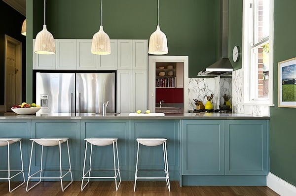 Teal green kitchen cabinets #homedecor
