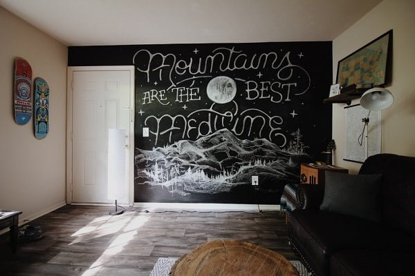 Teen bedroom chalkboard wall idea