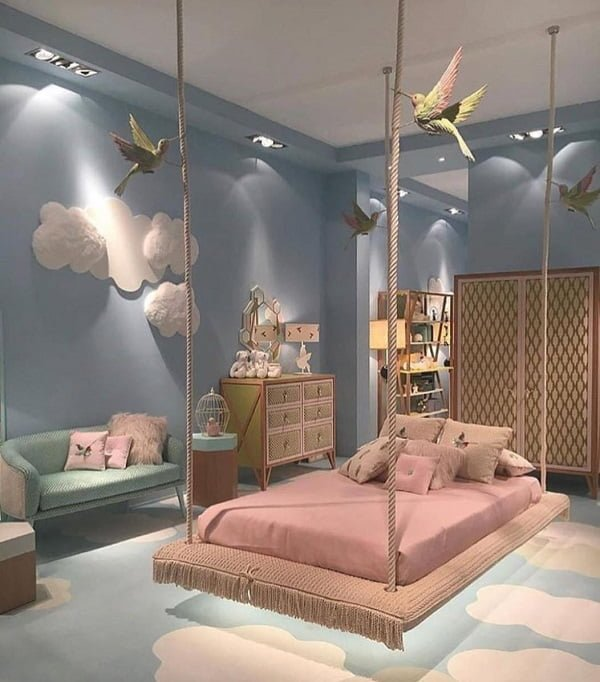 Teen bedroom hanging bed