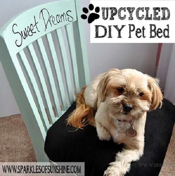 Upcycled  Dog Bed from an Old Chair