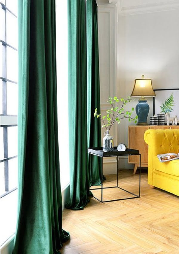 Velvet emerald green living room curtains