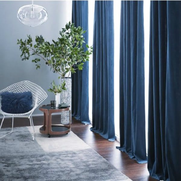 Velvet Navy Blue living room curtains