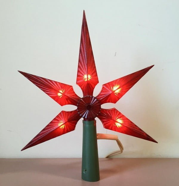 Vintage Lighted Treetop Star Christmas Ornament