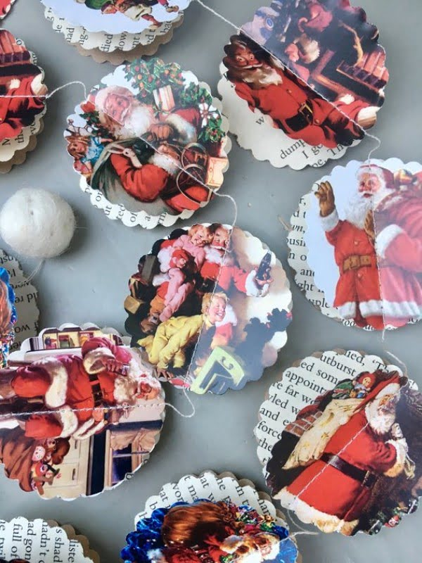 Vintage 3D Paper Christmas Garland