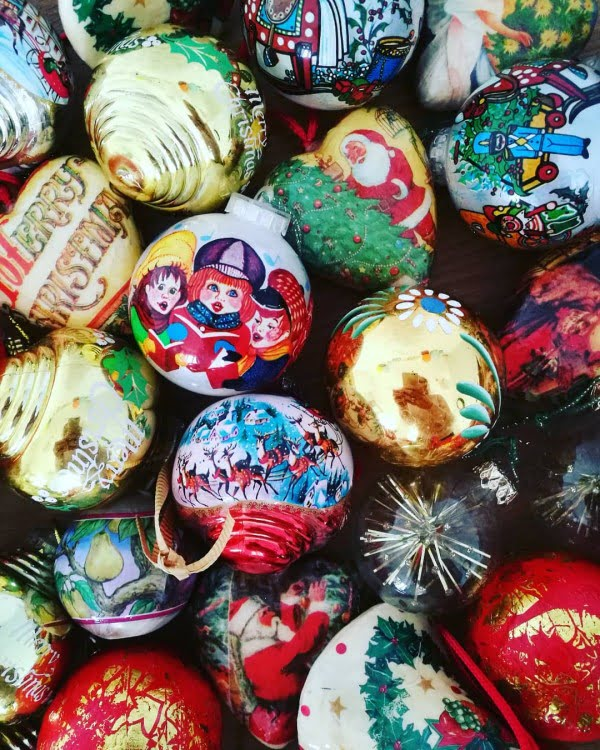 Vintage Painted Christmas Bauble Decorations