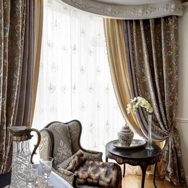 Vintage living room curtains