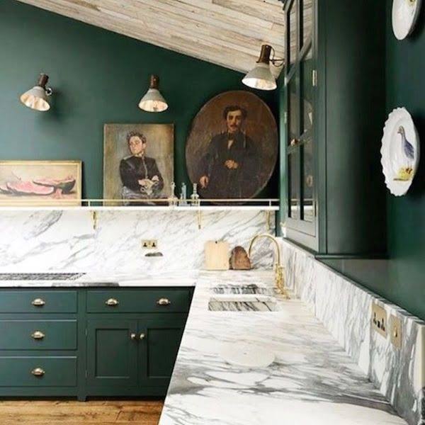 Vintage luxury green kitchen cabinets