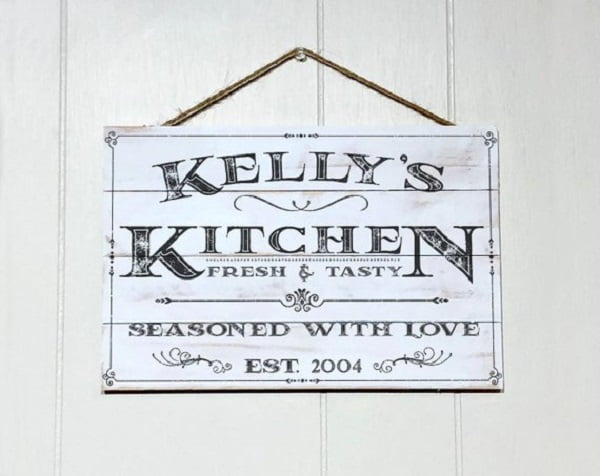Vintage sign kitchen wall art idea