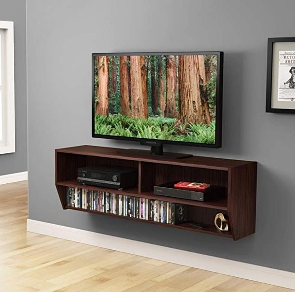 Wall mounted TV shelf console