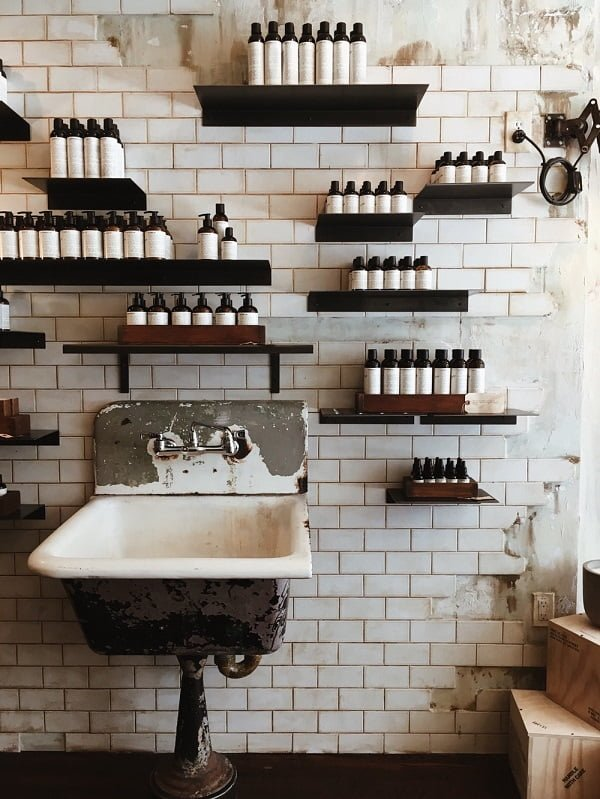 Wall shelves in laundry room #organization