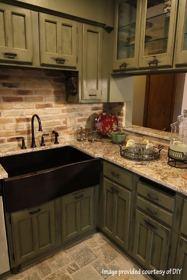 Weathered  green kitchen cabinets
