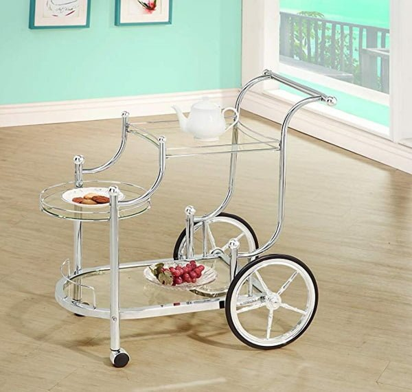 Wheeled shabby chic tea cart