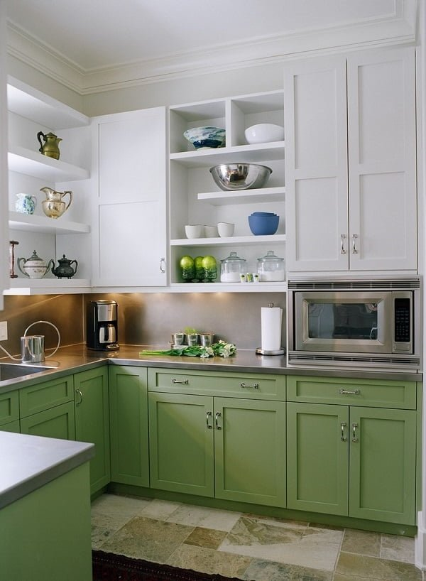 White and green kitchen cabinets #homedecor