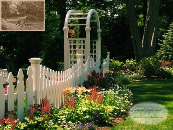 White Garden Fence with an Arbor #garden