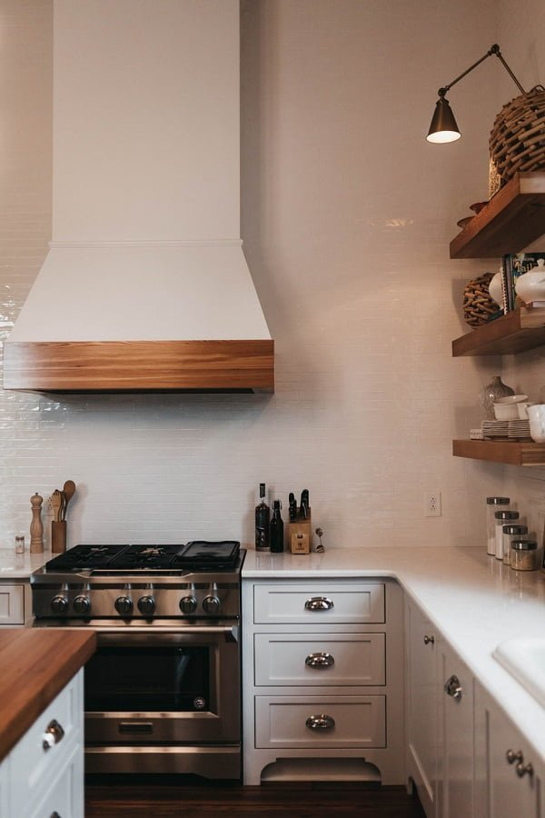 White shaker cabinets with metallic handles