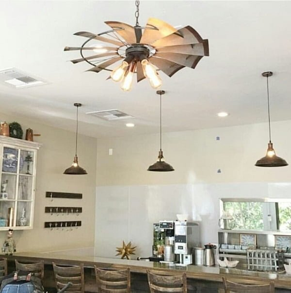 Windmill chandelier farmhouse lighting idea #homedecor