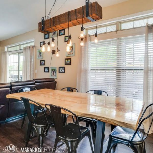 Wood beam chandelier farmhouse lighting idea #homedecor